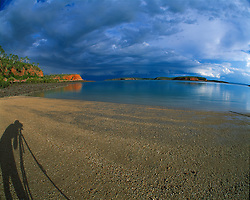 Photographing storms from the beach on Kingfisher Island in the Kimberley wet season.