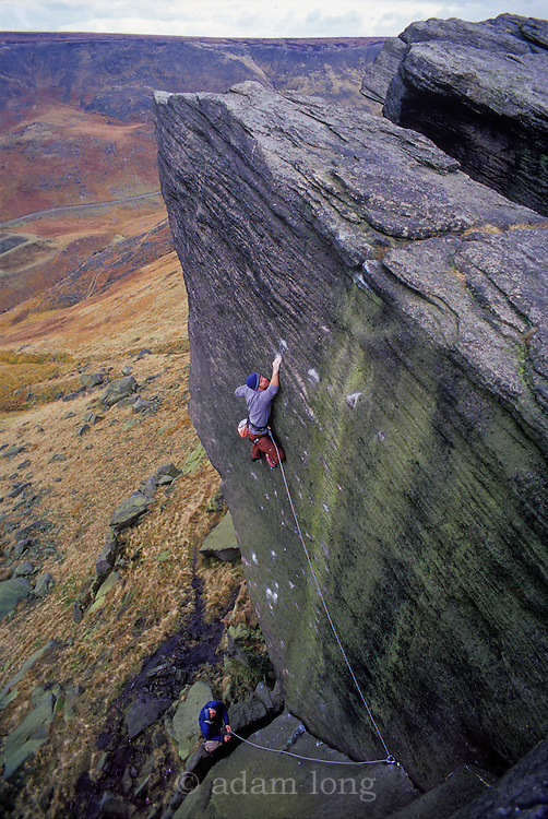 Sam Whittaker making the first ascent of Appointment with Death, E9 6c, Wimberry