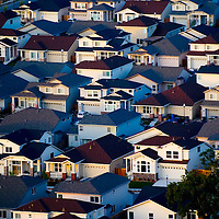 Aerial view of homes in Sonoma Valley California at Sunset