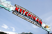 "USA, Alaska,Close up of the ""Welcome to Alaska's First City-Ketchikan- The Salmon Capitol of the World"" sign."