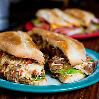 Sliced beef with cheese and avocado torta, El Capricho