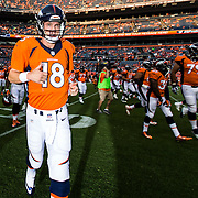 Denver Broncos quarterback Peyton Manning (18) runs off the field before an NFL preseason game against the San Francisco 49ers on Saturday, Aug. 29, 2015 in Denver. The Broncos won the game, 19-12. (Ric Tapia via AP)