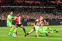 ROTTERDAM - Feyenoord - Ajax , Voetbal , KNVB Beker , Seizoen 2015/2016 , Stadion de Kuip , 25-10-2015 , Speler van Feyenoord Dirk Kuyt (2e r) passeerd Ajax speler Joel Veltman (r) en scoort de winnende 1-0
