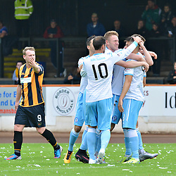 Forfar players surround opening goalscorer Kevin Milne.....(c) BILLY WHITE | SportPix.org.uk