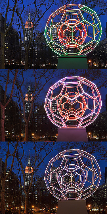 Different view of Empire State Building. Madison Square Park. Triptych.