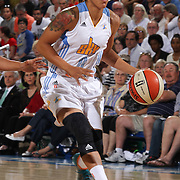 Chicago Sky Guard Courtney Clements (0) drives towards the basket in the second half of an WNBA preseason basketball game between the Chicago Sky and the Washington Mystics Tuesday, May. 13, 2014 at The Bob Carpenter Sports Convocation Center in Newark, DEL
