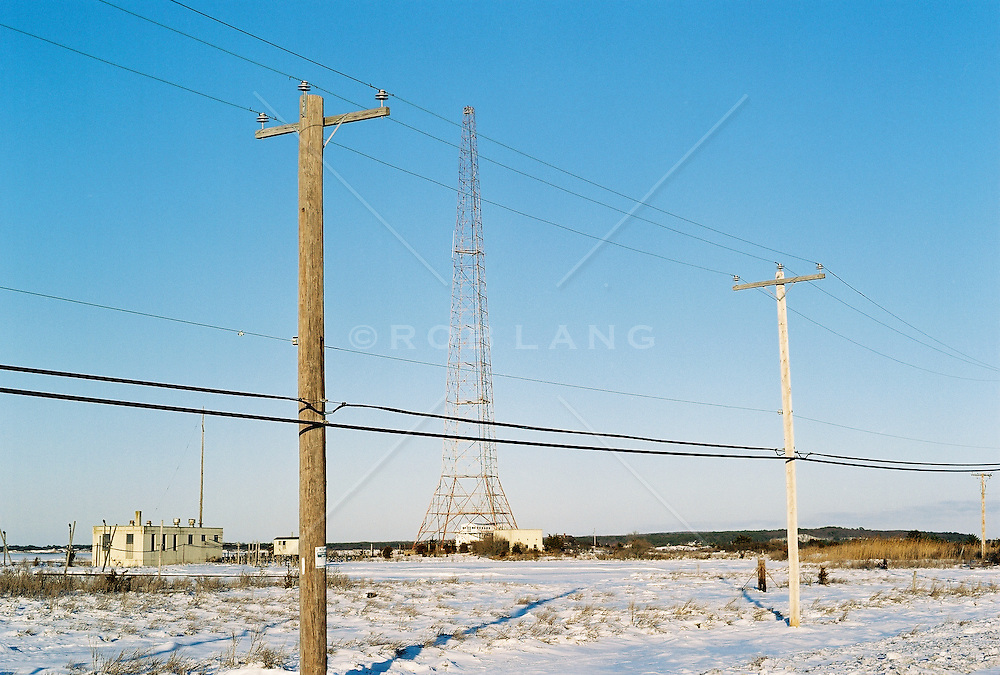 telephone poles and electric tower in Amagansett, NY