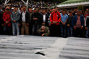 Crowds at the Potocari memorial center for the victims of the Srebrenica genocide in 1995. During the speeches.