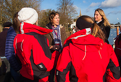 Marlow, Bucks, January 24th 2015. Olympic and Paralympic rowing medallists including Naomi Riches, Heather Stanning and Katherine Grainger join members of a Coxless Crew at Marlow at their boat naming ceremony. The Coxless Crew is a team of four women who have given up their jobs to undertake an epic six-month 8,446 mile adventure rowing their boat Doris across the Pacific ocean from Sanfrancisco to Cairns in Australia, to raise funds for charities Walking With The Wounded and Breast Cancer Care. PICTURED: Olympian Katherine Grainger chats with members of the Coxless Crew and theit friends.
