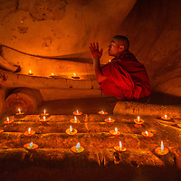 Buddhist Monk at Thatbyinnyu Temple in Bagan, Myanmar.