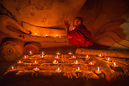 Buddhist Monk at Thatbyinnyu Temple in Bagan, Myanmar.