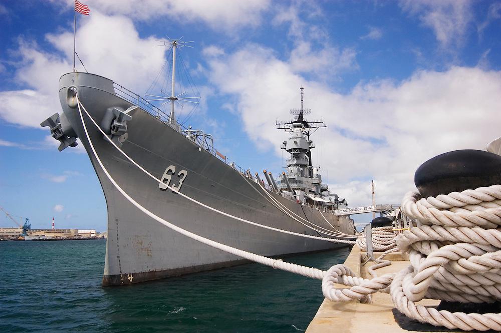 U.S.S. Missouri - historic battleship now anchored in Pearl Harbor; Honolulu, Oahu, Hawaii.