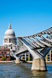 Millenium Bridge and St Paul's Cathedral in London United Kingdom