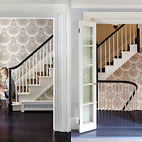 Entrance foyer and stairwell of Beacon Hill Townhouse. Designer: Patricia McDonagh Interior Design