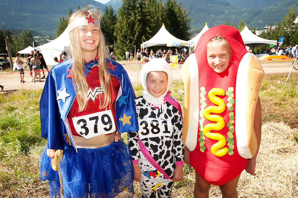 Best costume contestants at the Canadian Cheese Rolling event at Crankworx.  Saturday, Aug 21, 2016.  <br /> <br /> Photo:  David Buzzard