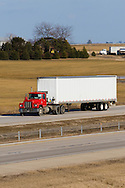 An old vintage Mack truck is westbound on the I-88 toll road in northern Illinois.