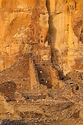 The walls of Pueblo Bonito ruin at sunset. Chaco Culture National Historical Park in New Mexico.
