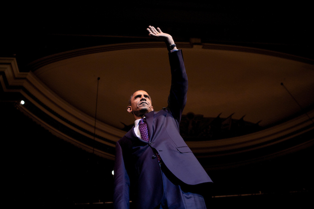 President Barack Obama waves after delivering remarks at a Democratic National Committee Gen44 fundraising event at DAR Constitution Hall in Washington, D.C., U.S., on Thursday, September 30, 2010.