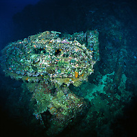 Tanks on the Toa Maru, once a   Japanese transport ship, off of Gizo, Solomon Islands.