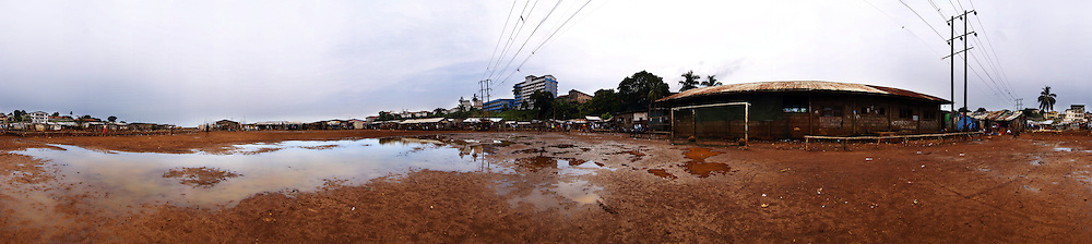 The football field after the rain, Kroo Bay, Freetown, Sierra Leone.