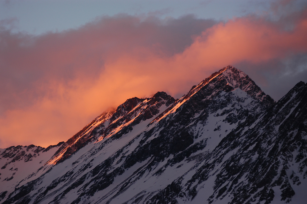 Andes mountains. Sunset. Portillo, Chile