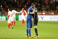 can - 02.05.2017 - Monaco - Champions League Semifinale -  Monaco-Juventus nella  foto: Giorgio Chiellini e Gianluigi Buffon esultano a fine partita