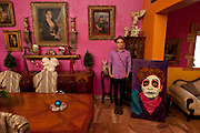 Performance artist Artierra Entonada in Nuevo Laredo. (painting of Arturro by Felipe Flores Montemayor, the pictures were taken in his house).<br /> <br /> Nuevo Laredo, Tamaulipas, Mexico.<br /> <br /> &copy; Stefan Falke<br /> www.stefanfalke.com<br /> LA FRONTERA: Artists along the US Mexican Border