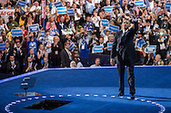 President Barack Obama waves to the audience after speaking at the Democratic National Convention on Thursday, September 6, 2012 in Charlotte, NC.