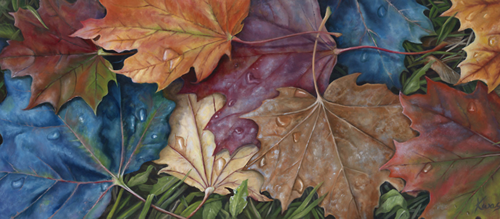 Freshly fallen maple leaves, wet with dew, reflect the morning light in the season's riot of color. <br /> <br /> Original oil on panel available, 15 x 30  <br /> <br /> Print Pricing, see Flight B.