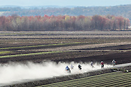 Dirt bikes and quads kick up clouds of dusk while driving across farm fields in the Black Dirt region of Goshen, New York.