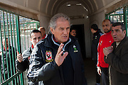 Manuel Jose, (c) the Portuguese Coach of the Egyptian football team Al-Ahly is greeted by his trainers and assistants upon his February 17, 2012 return to the Ahly club stadium in Cairo, Egypt. Jose returned to Egypt Feb 16 to resume his job of coach of Al-Ahly in the wake of post-football match violence February 2nd, 2012 that killed 74 and injured hundreds more in the Port Said, Egypt stadium.  (Photo by Scott Nelson)
