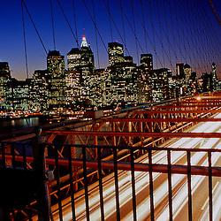 Life goes on along the Brooklyn Bridge, RIP Twin Towers, New York City