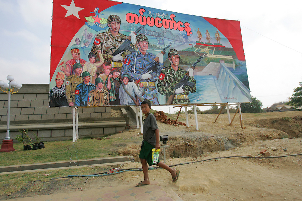 Burmese works are seen in Naypyidaw, the new capital of Burma.