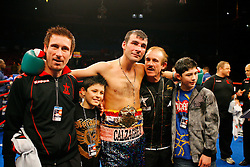 Nov 8, 2008; New York, NY, USA; Joe Calzaghe celebrates after his 12 round Light Heavyweight Championship fight against Roy Jones Jr. at Madison Square Garden in New York, NY.  Calzaghe defeated Jones via unanimous decision.
