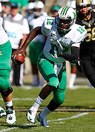 WEST LAFAYETTE, IN - SEPTEMBER 29: Rakeem Cato #12 of the Marshall Thundering Herd rolls out of the pocket to pass against the Purdue Boilermakers at Ross-Ade Stadium on September 29, 2012 in West Lafayette, Indiana. (Photo by Michael Hickey/Getty Images) *** Local Caption *** Rakeem Cato