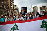 A peace march makes its way through Tripoli, demanding an end to the clashes that have plagued the Sunni and Alawite quarters of the city, in Tripoli, Lebanon.