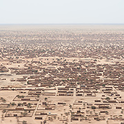 An aerial view of Bassikounou in southeastern Mauritania, the staging point for humanitarian operations at the Mbera refugee camp, on 28 February 2013.