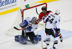 Nov 5, 2008; Newark, NJ, USA; Tampa Bay Lightning goalie Mike Smith (41) makes a save during the overtime period at the Prudential Center.