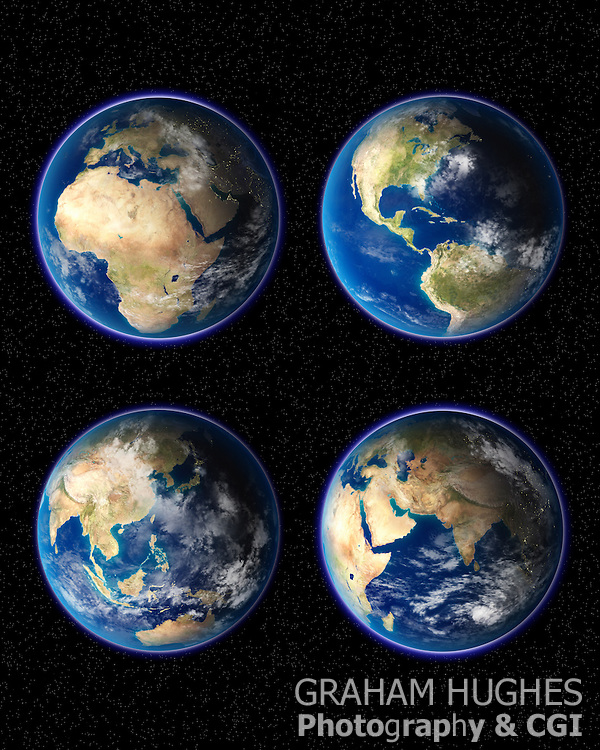 Planet Earth four up with different continents on them