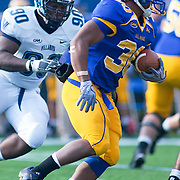 Delaware RB (#30) Andrew Pierce rushing for 4 yards. No.1 Delaware loses to No.15 Villanova 28-21 on a brisk Saturday afternoon at Delaware stadium in Newark Delaware...Delaware will have to wait until Sunday 11/21/10 to receive a NCAA Tournament playoff berth,