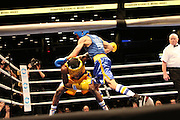 April 1, 2015 - New York, NY. Richardson Hitchins (gold) ducks a punch from Michael Hughes (blue) during the 88th Annual Daily News Golden Gloves Competition.04/01/2015 Photograph by Maya Dangerfield/NYCity Photo Wire