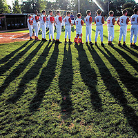 Bowling Green East's 9-10 and 11-12 year old teams as well as Warren County South's 11-12's competed in the finals of the District Little League at Keriakes Park. The sun casts long shadows on the field at Keriakes Park as the players are announce.