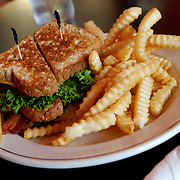 An award-winning hot meatloaf club sandwich stacked with American cheese, lettuce, tomato, mayo and bacon seen Saturday, Sept. 8, 2007 at the Drake Diner in Des Moines, Iowa. Photo by Scott Morgan