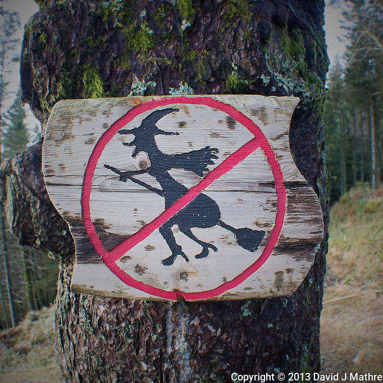 """""""No Fly Zone"""" over Bergen? Sign on one of the trails on top of Mount Fløyen above Bergen Norway. Image taken with a Nikon 1 V2 and 10 mm f/2.8 lens (ISO 200, 10 mm, f/2.8, 1/60 sec)."""