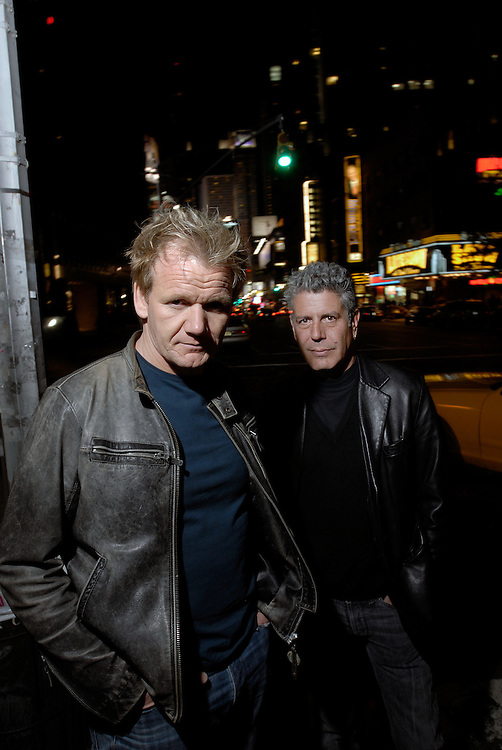 Gordon Ramsay and Tony Bourdain talk at Mc Gee's pub  after viewing the refurbishment done at the The London, 151 West 54th Street, New York by Neville Elder Oct 15 2006