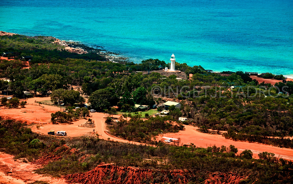 Aerial view of Cape Leveque and the lighthouse, 240 km north of Broome in the northernmost tip of the Dampier Peninsula. Remote with few facilities and great for camping. WA