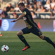 Philadelphia Union Midfielder BRIAN CARROLL (7) attempts to pass the ball in the first half of a Major League Soccer match between the Philadelphia Union and New York Red Bulls Sunday, July. 17, 2016 at Talen Energy Stadium in Chester, PA.