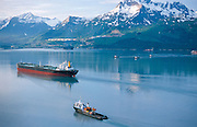 Alaska. Valdez Arm, S/S Denali Tanker with escort vessels heading for loading at the Valdez Marine terminal.