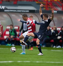 Hamilton's Mickeal Antoine-Curier and Falkirk's Will Vaulks.<br /> Hamilton 2 v 0 Falkirk, Scottish Championship played today at New Douglas Park.<br /> &copy;Michael Schofield.
