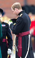The Duke of Cambridge attaches a shamrock sprig to his cap-band while attending the Irish Guards' annual St Patrick's Day Parade at Mons Barracks, Aldershot, Hampshire.<br /> Picture date Monday 17th March, 2014.<br /> Picture by Christopher Ison. Contact +447544 044177 chrisison@mac.com